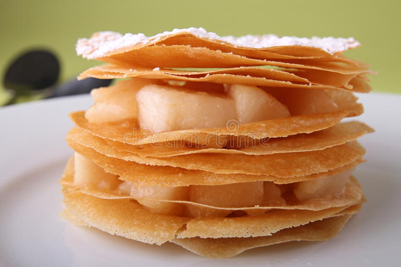 Pear mille feuille. Delicious dessert, pear mille feuille stock photo