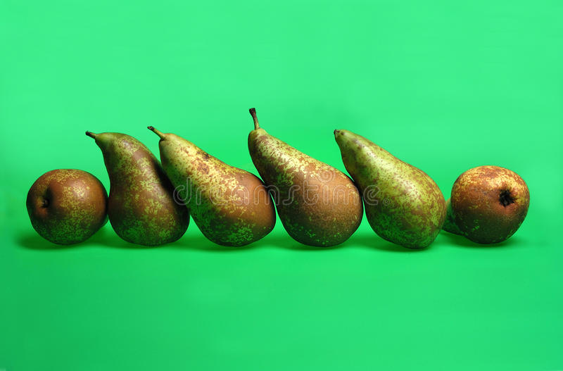 Pear,pears in a row in the studio with green background royalty free stock photography