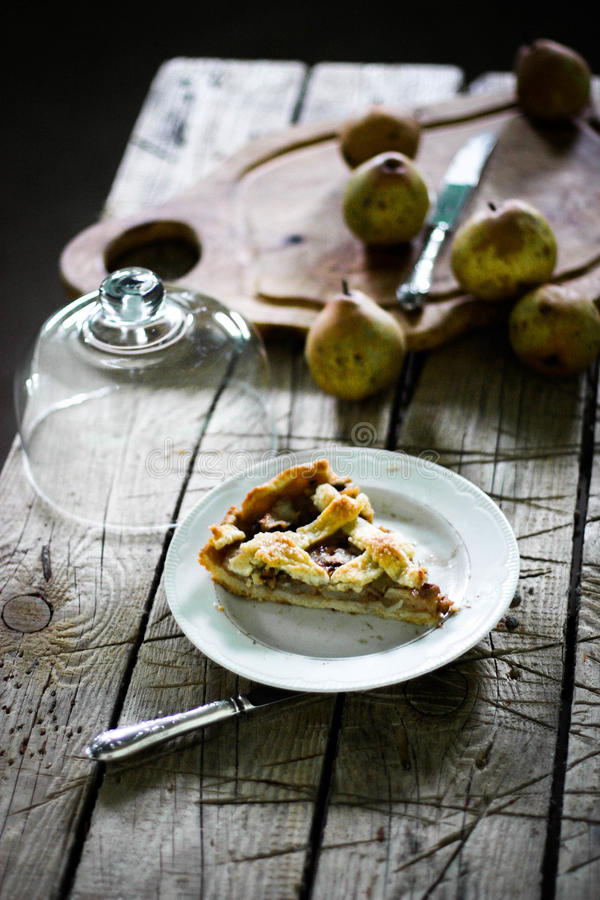 Pear pie with a lattice royalty free stock photo