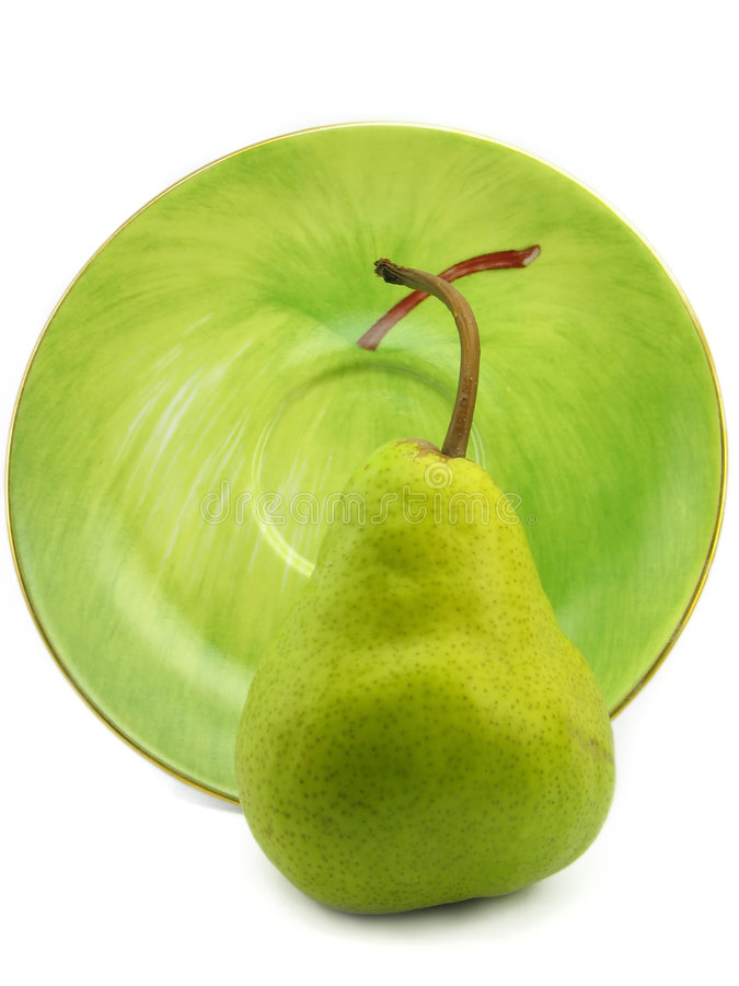Download Pear with the plate stock photo. Image of healthy, interior - 2322504