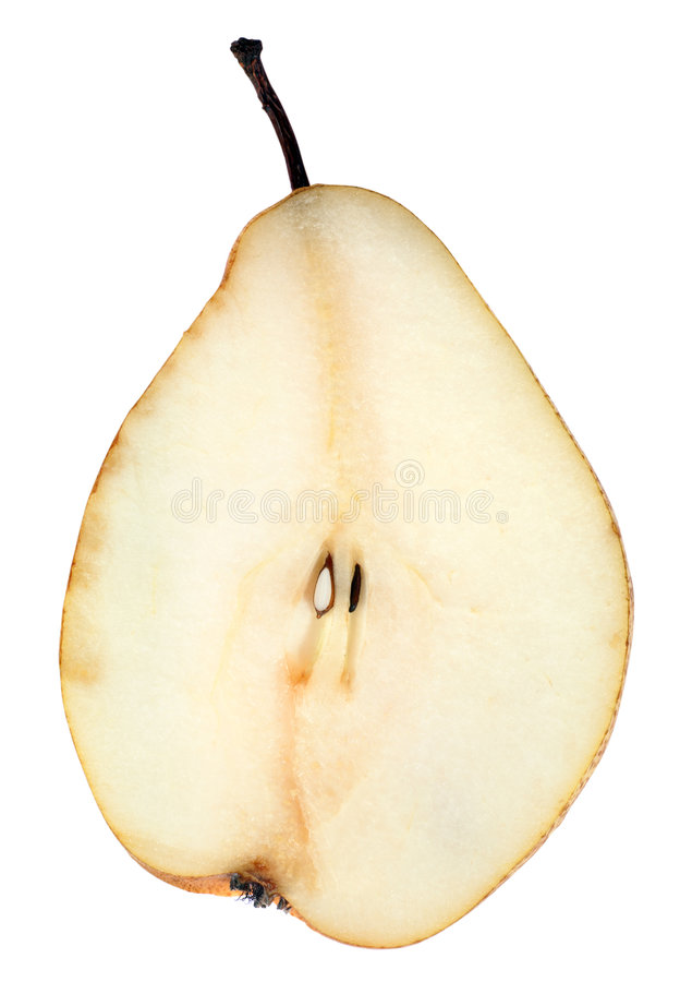 Pear sliced application stock photography