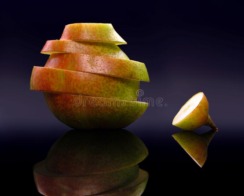 Pear slices royalty free stock images