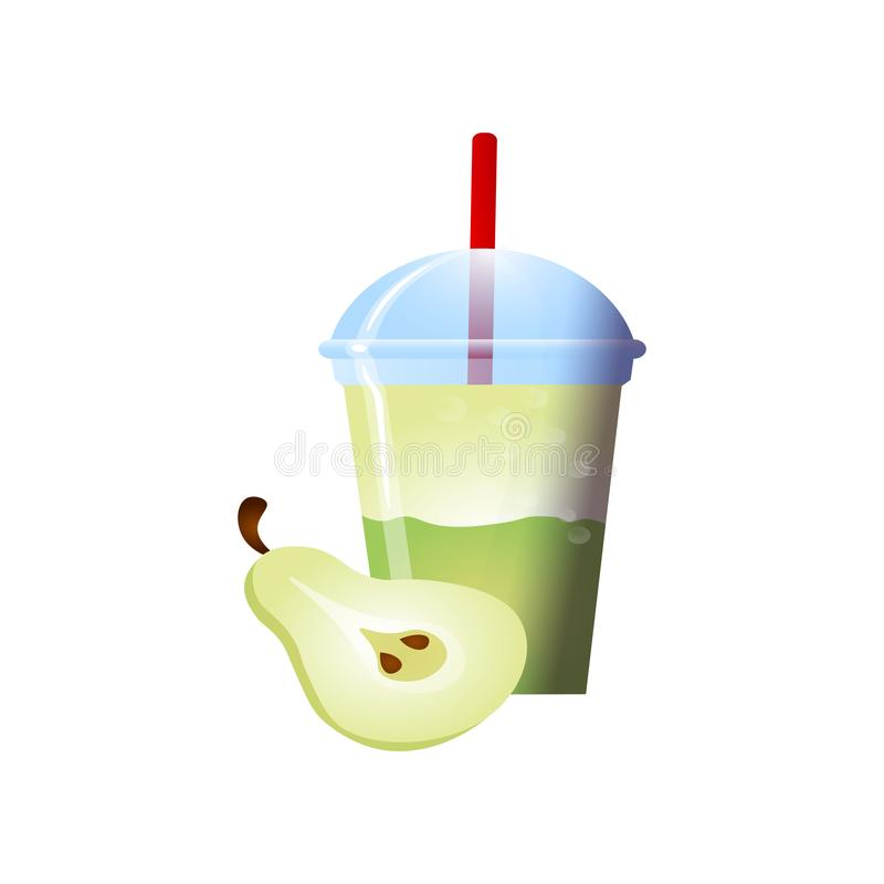 Pear Smoothies in a cup. Superfoods and health or detox diet food concept in sketch style. Vector illustration of different food products on white stock illustration