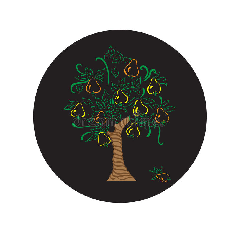 Pear tree with leaves harvest garden royalty free illustration