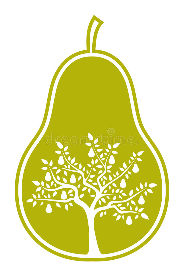 Pear tree in pear vector illustration