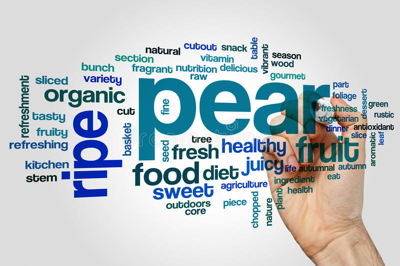 Pear word cloud. Concept on grey background stock photo