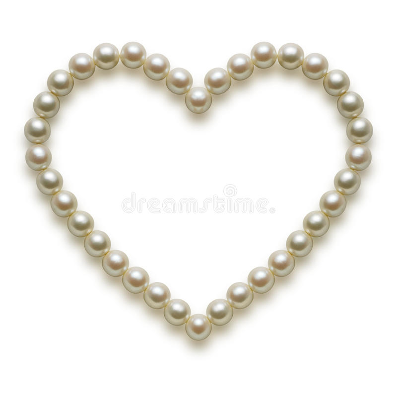 Pearl. White heart pearl necklace on white background royalty free stock image