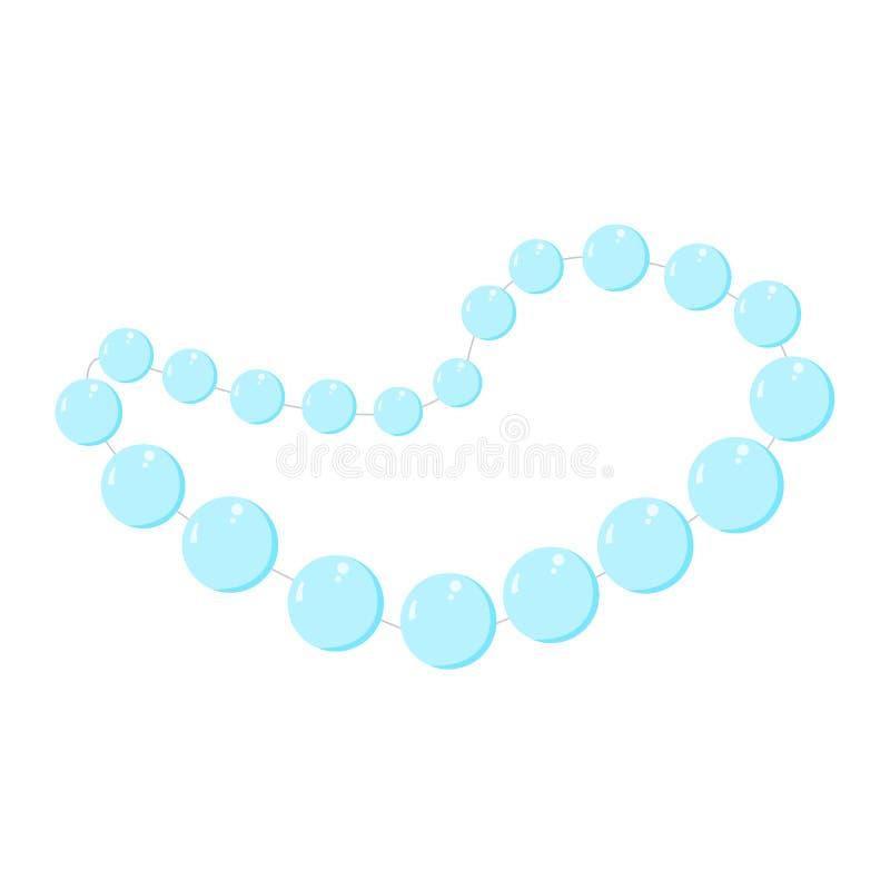 Pearl beads. Blue vector valentine stock illustration