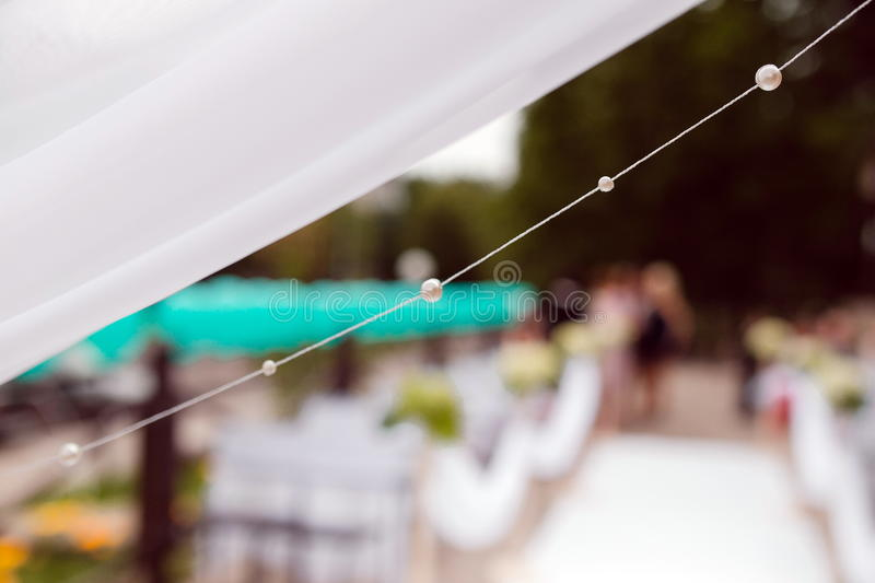 Pearl beads on a string stock images
