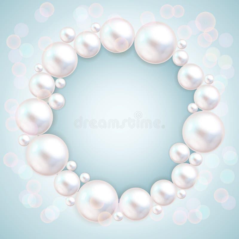 Pearl beads wedding invitation frame on blue background. Jewellery bracelet, necklace . Wedding invitation white pearls stock illustration