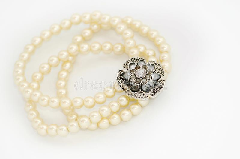 Pearl bracelet. Beauty pearl bracelet isolated on white royalty free stock photos