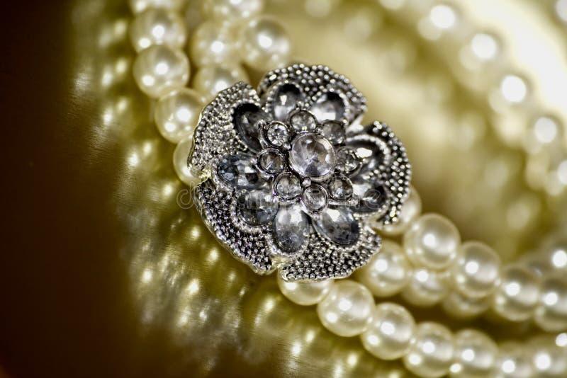 Pearl bracelet. Close-up of vintage pearl bracelet royalty free stock photos