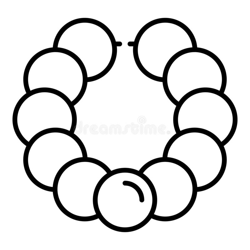 Pearl bracelet icon, outline style royalty free illustration