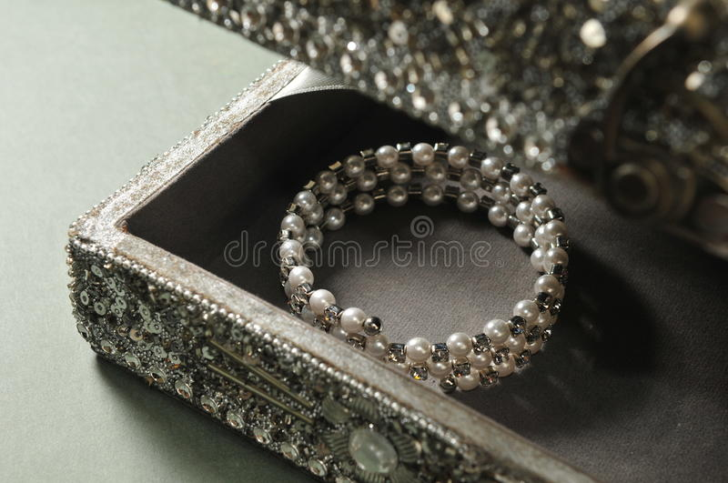 Pearl bracelet. Indian style Treasure box with Pearl bracelet stock image