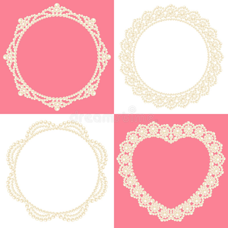 Pearl decoration. Set of decorative pearls. pearl doily vector illustration