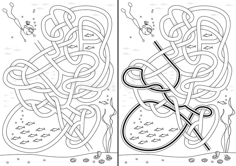 Pearl diving maze. For kids with a solution in black and white royalty free illustration
