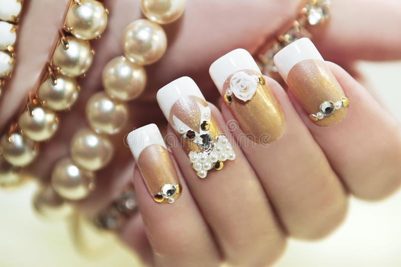 Pearl French manicure. stock photos