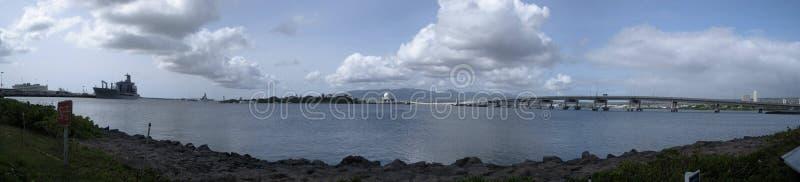 Pearl Harbor panorámico en Hawaii fotos de archivo