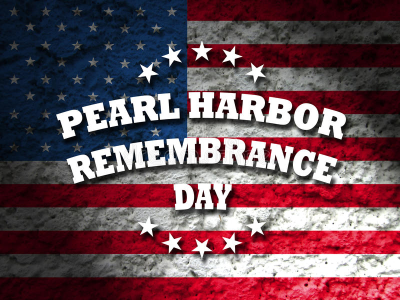 Pearl harbor remembrance day. Greeting card american flag grunge background stock photography