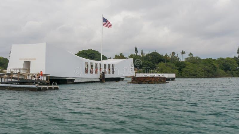 PEARL HARBOR, STATI UNITI D'AMERICA - 12 GENNAIO 2015: la fine su ha sparato del memoriale dell'Arizona dei uss al Pearl Harbor immagini stock libere da diritti