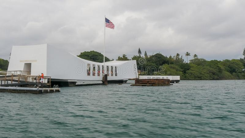 PEARL HARBOR, UNITED STATES OF AMERICA - JANUARY 12 2015: close up shot of the uss arizona memorial at pearl harbor. PEARL HARBOR, UNITED STATES OF AMERICA royalty free stock images