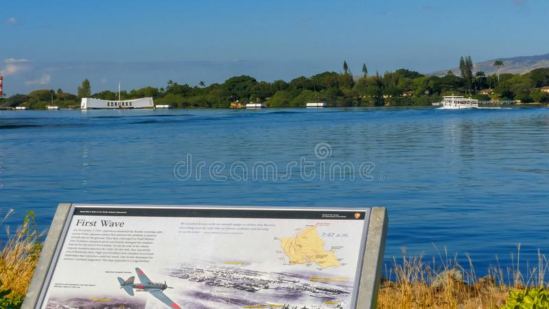 PEARL HARBOR, UNITED STATES OF AMERICA - JANUARY 12 2015: an information display on the attack and the uss arizona memorial at. Pearl harbor, hawaii stock image