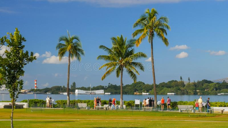 PEARL HARBOR, UNITED STATES OF AMERICA - JANUARY 12 2015: wide view of visitors at the arizona memorial and the grounds. At pearl harbor stock images