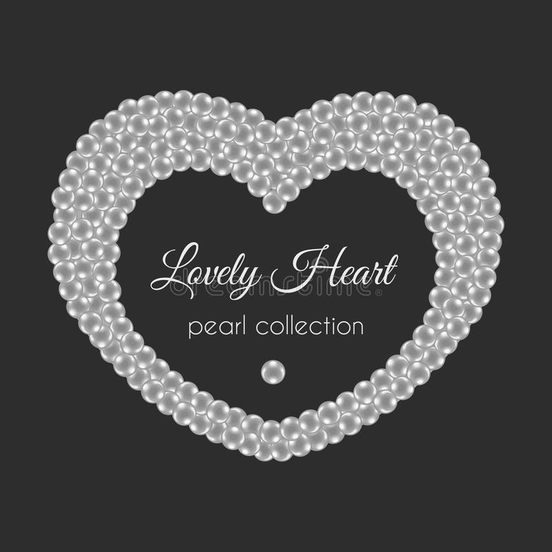 Pearl heart. Vector frame in heart shape. White pearls design. royalty free illustration