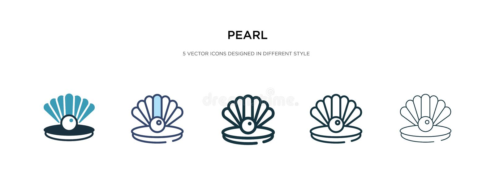 Pearl icon in different style vector illustration. two colored and black pearl vector icons designed in filled, outline, line and vector illustration