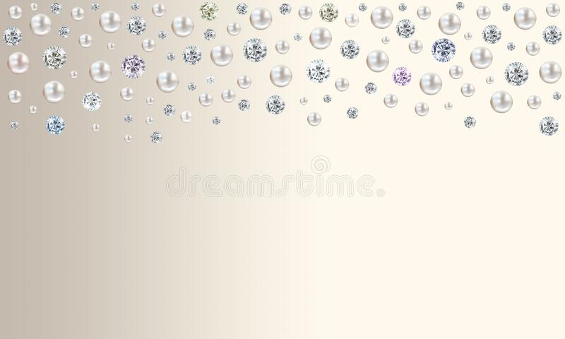 Diamonds and pearls raining from top on pale turquoise blue satin background vector illustration