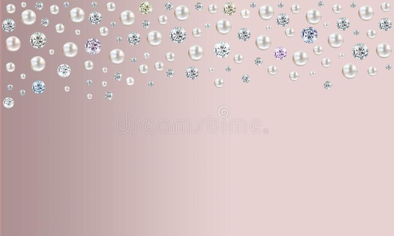 Diamonds and pearls raining from top on pink satin background royalty free illustration