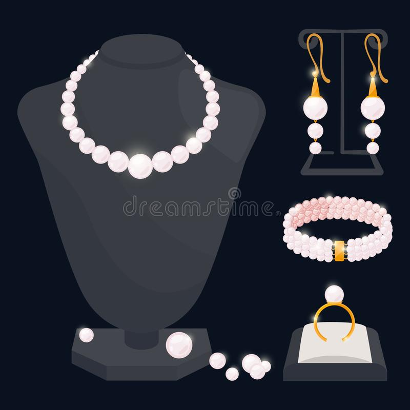 Pearl jewerly vector collection - necklace, earrings, ring and bracelet vector illustration