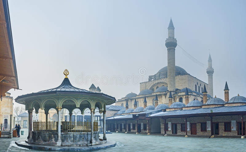 The pearl of Konya. KONYA, TURKEY - JANUARY 20, 2015: The Mevlana Museum is the most notable landmark of the city, its popular among tourists and pilgrims, on stock images