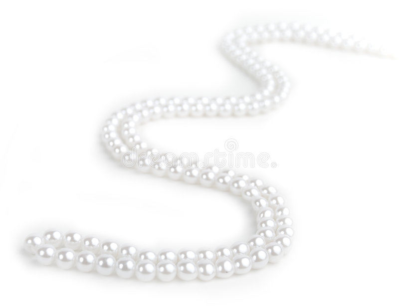 Pearl Line. Pearl necklace isolated on white background royalty free stock photos