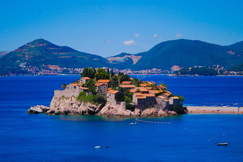 Pearl of Montenegro - Sveti Stefan stock photography