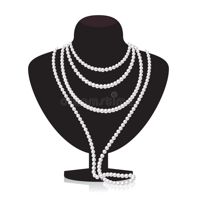 Pearl necklace on black mannequin vector illustration