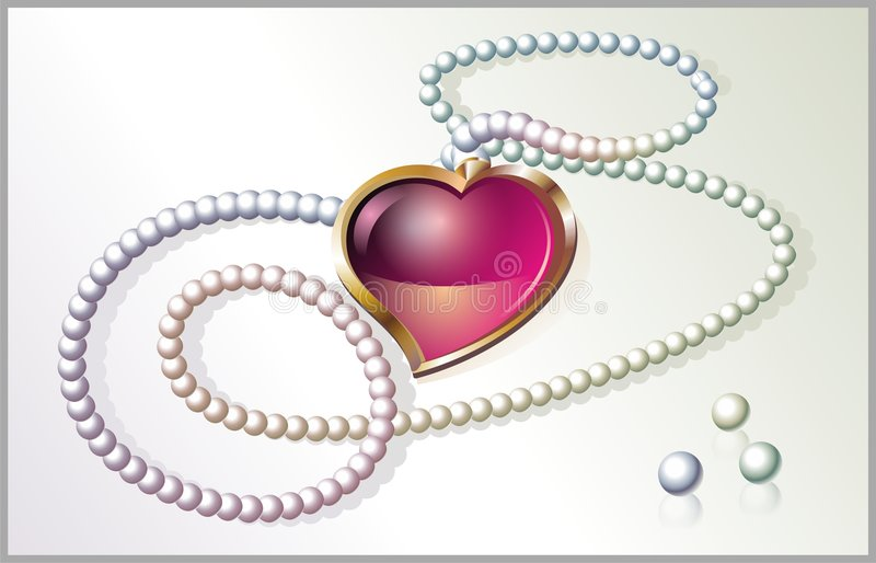 Download Pearl necklace with heart stock vector. Illustration of accessory - 4106846