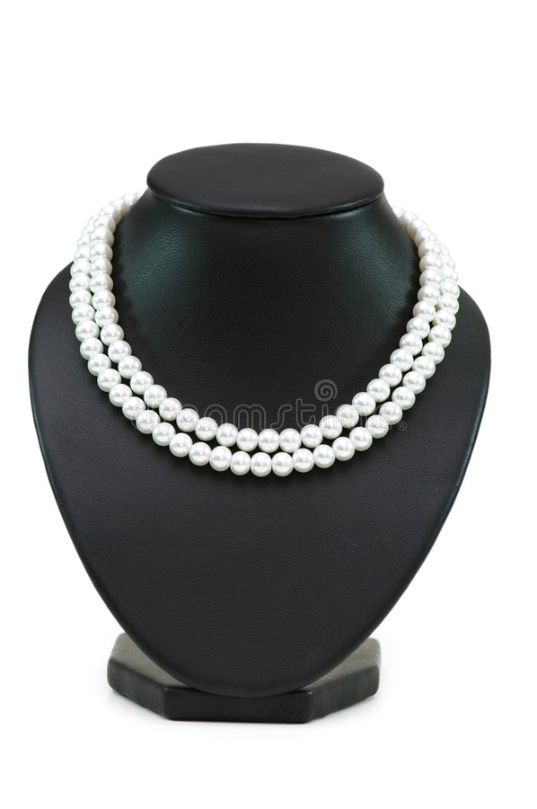 Pearl necklace isolated stock image