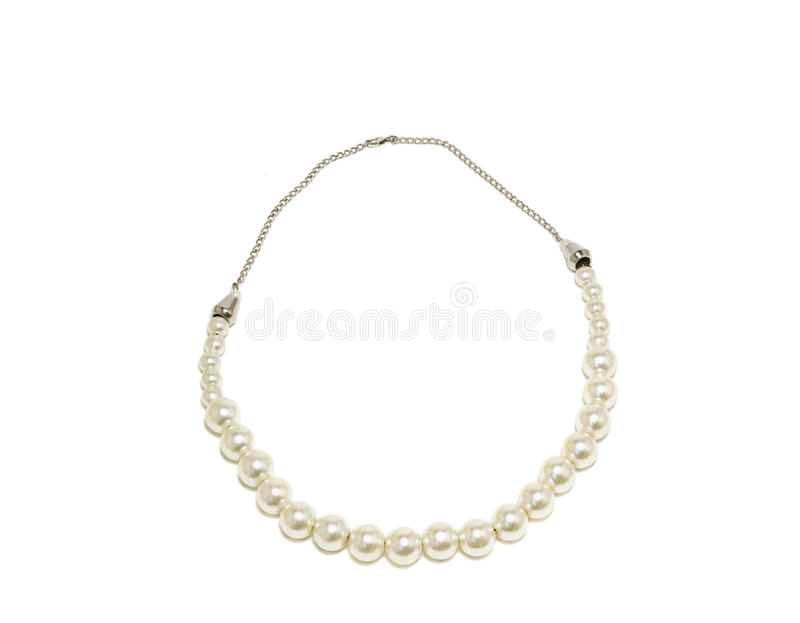 Pearl Necklace isolated on white background.  royalty free stock image