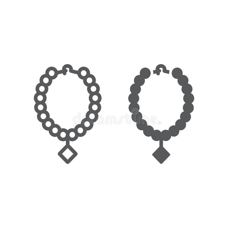 Pearl necklace line and glyph icon, jewelry and accessory, necklace with gem sign, vector graphics, a linear pattern on vector illustration