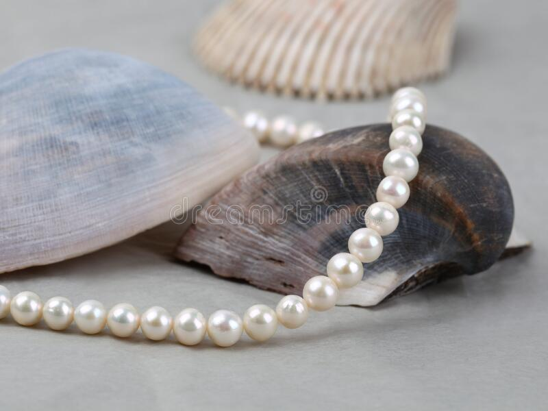 Emeralds, Mother Of Pearl And Pearls Necklace Stock Photo