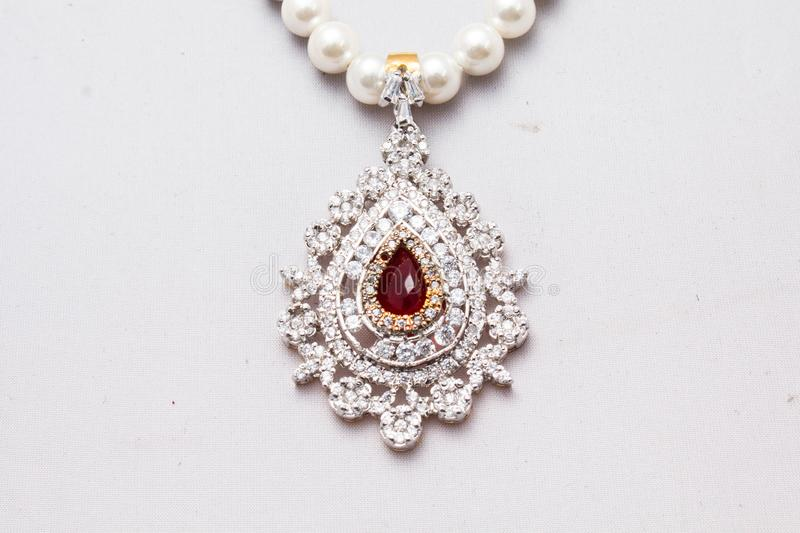 Pearl necklace with a pendant stock photo
