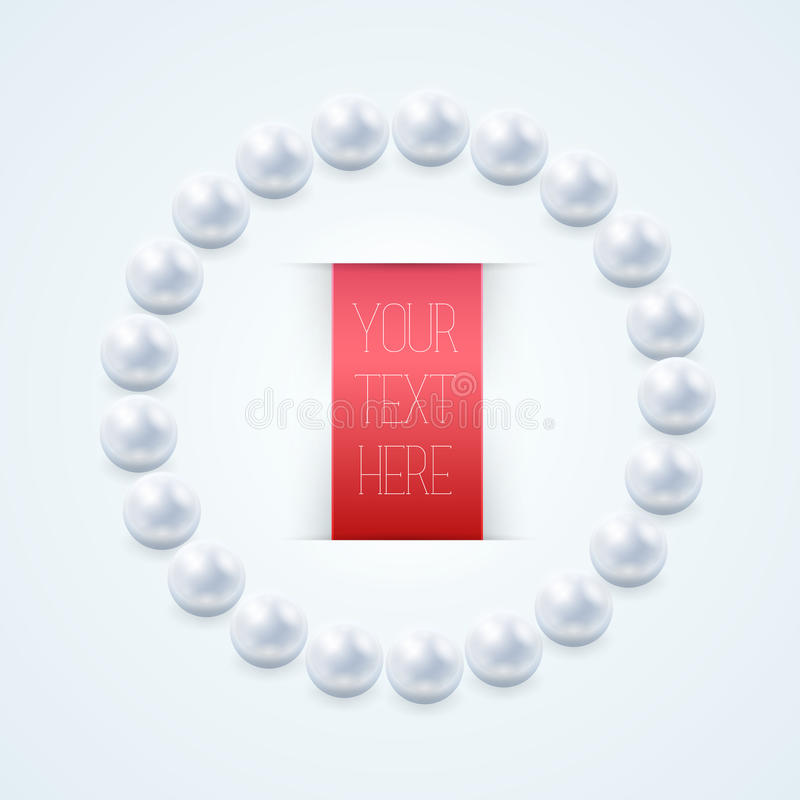 Download Pearl Necklace With Red Label Stock Vector - Illustration: 35788303