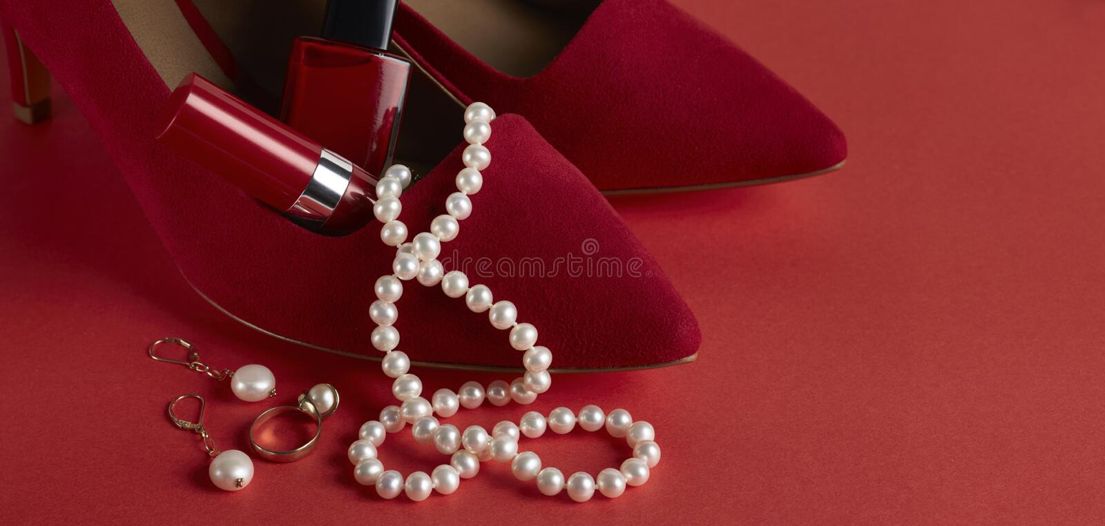Pearl Necklace Red shoes stock images
