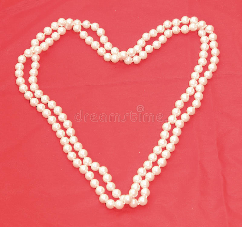 Pearl Necklace in the shape of a heart 2 stock photography