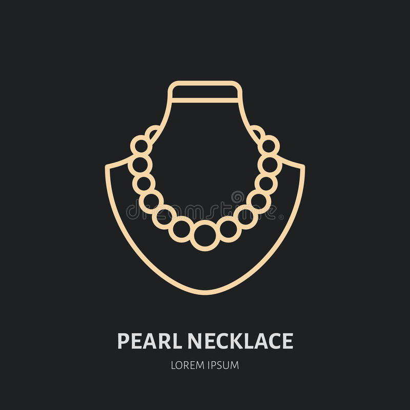 Pearl necklaces on dummy illustration. Jewelry flat line icon, jewellery store logo. Jewels accessories sign.  royalty free illustration