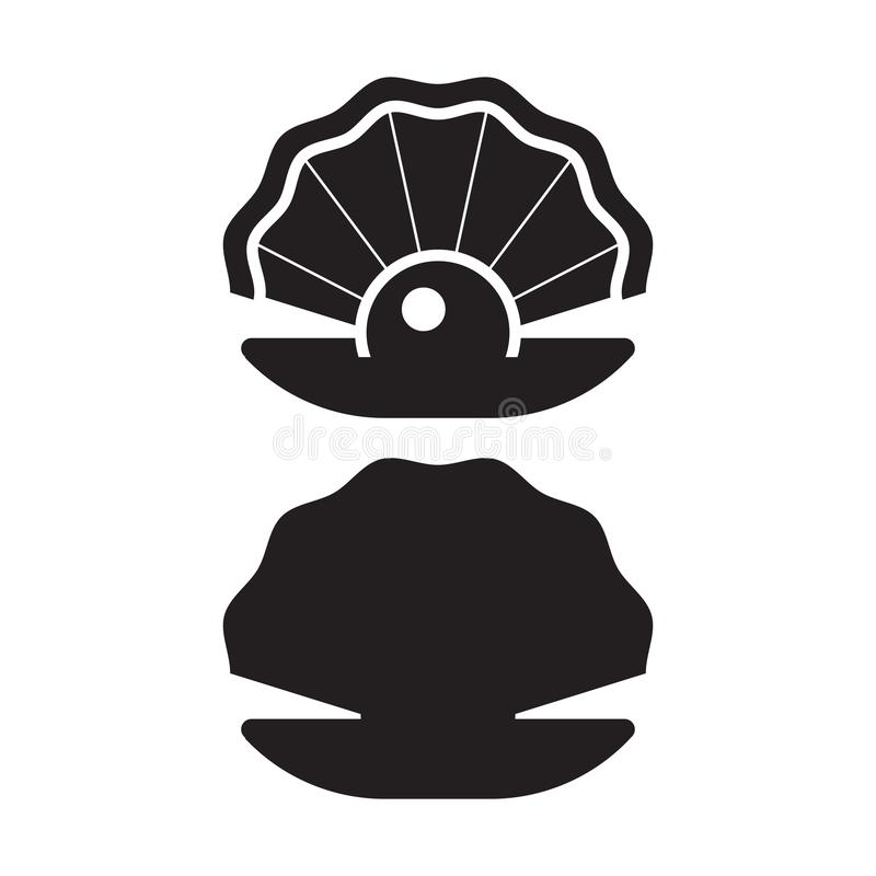 Pearl Oyster Outline Icon stock illustration