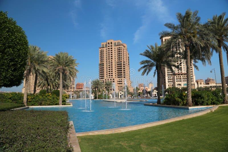 The Pearl-Qatar in Doha city, Qatar stock photos