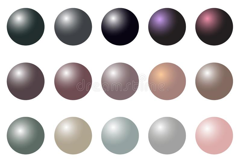 Pearl realistic set isolated on white background. Vector Illustration for your design and business. royalty free illustration