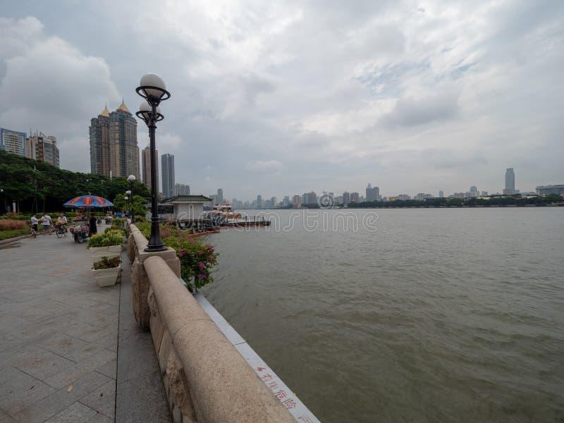 Pearl River in der Mitte von Guangzhou, China stockfotos